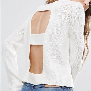 Open Back White Sweater XS
